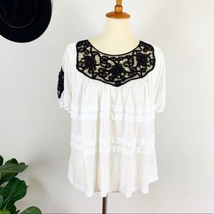 New Anthropologie lace neck and sleeves top